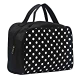 Travel Bag Printed Multifunction Portable Toiletry Bag Cosmetic Makeup Pouch Case Organizer for Travel (Black)