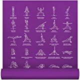 """NewMe Fitness Instructional Yoga Mat, Purple, Printed w/ 70 Illustrated Poses, 24"""" Wide x 68"""" Long, for Women & Men : Non Slip, Eco Friendly PVC, Non Toxic : for Home or Gym : 5mm Thick"""