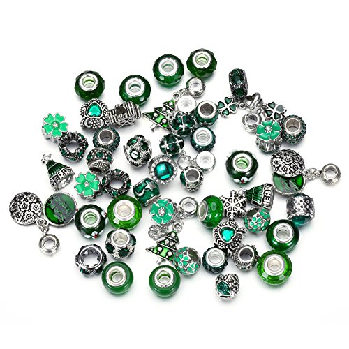 Pansona 10 Colors Assorted Silver Tone Charms Rhinestones Bead Charms Murano Glass Beads and Spacers Pack of 50 (Heart Green Murano Glass Beads)