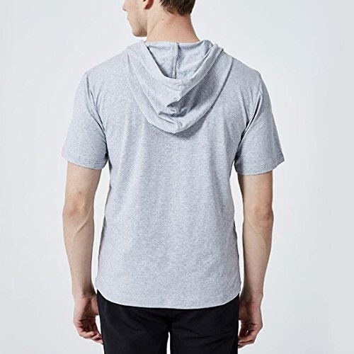 de manga capucha deportiva Camiseta diario Ai Ropa corta Summer con Gris Casual de Ropa moichien Hombres YxYqwTXC