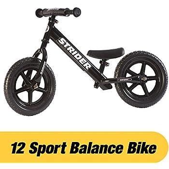 Strider - 12 Sport Balance Bike, Ages 18 Months to 5 Years, Black