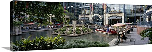 Canvas On Demand Premium Thick-Wrap Canvas Wall Art Print entitled Shopping mall at the waterfront, Rivercenter, San Antonio River Walk, San Antonio River, San Antonio, Bexar County, Texas - Mall San Texas Antonio
