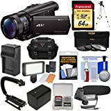 Sony Handycam FDR-AX100 Wi-Fi 4K HD Video Camera Camcorder 64GB Card + Case + LED Light + Battery + Tripod + Microphone + 3 Filters Kit