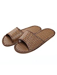 Women's Men's Tatami Antiskid Indoor Room Shoes Breathable Bamboo Slippers