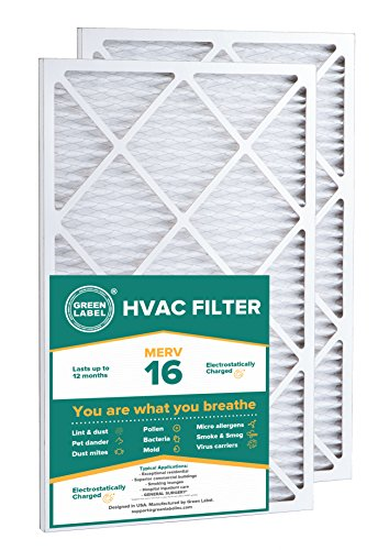 Green Label HVAC Air Filter 16x25x1, AC Furnace Air Ultra Cleaning Filter MERV 16 - Pack of 2 -