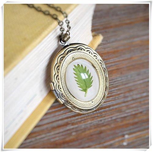 Dandelion Green Fern Leaf Necklace, Vintage Openable Phase Box, Antique Brass Botanical Woodland,