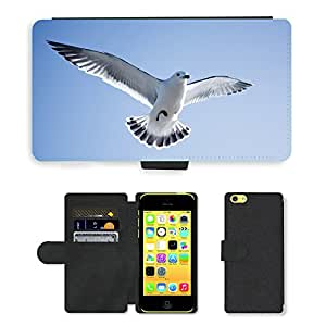 Hot Style Cell Phone Card Slot PU Leather Wallet Case // M00111531 Seagull Bird Sky Animal // Apple iPhone 5C