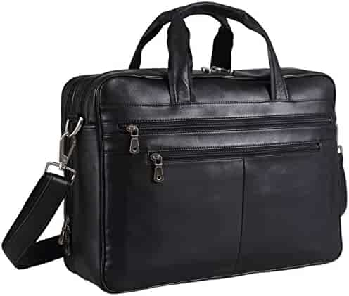 Polare Real Soft Nappa Leather 17 Laptop Case Professional Briefcase Business Bag For Men