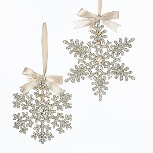 Pearl Snowflake Ornament - Kurt Adler Vintage Glamour Platinum Glass Glitter Snowflake Ornament - 2 Assorted: Clear GEM Center and Pearl Center