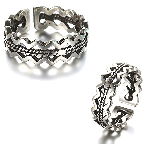 - Antique Vintage Gothic Punk Geometric Drawing Black Silver Cast Band Toe Ring Adjustable