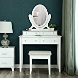 SONGMICS Vanity Table Set with Mirror and 4 Drawers, Wooden Makeup Dressing Table with Large Stool, Gift for Women Girls White URDT22WT