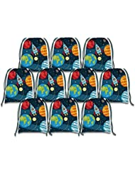 Solor System Outer Space Drawstring Bags Kids Birthday Party Supplies Favor Bags 10 Pack