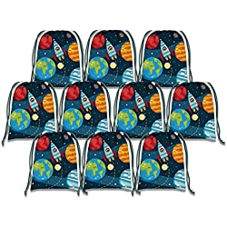 Solar System Outer Space Drawstring Bags Kids Birthday Party Supplies Favor Bags 10 Pack