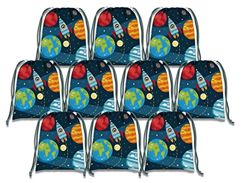 Space Birthday Party Ideas (Solar System Outer Space Drawstring Bags Kids Birthday Party Supplies Favor Bags 10)