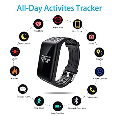TIISON Fitness Tracker, Smart Bracele Smart Watch Waterproof Pedometer Activity Tracker with Heart Rate Monitor, Blood Pressure Blood Oxygen Monitor Bluetooth 4.0 for IOS Android