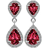 Fashion Women Crystal Rhinestone Silver Drop Dangle Ear Stud Earrings Jewelry ERAWAN (Red)