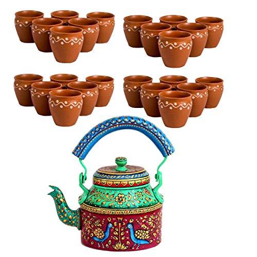 Odishabazaar Combo 24 Pcs Designer Teacups|Indian Kulhar|Free 1Ltr Hand Painted Tea Kettle|Pot (ktc-2) (Painted Teacup Hand)