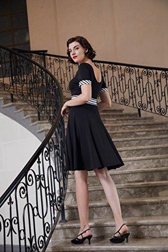Belle Poque Rétro Manches Courtes Cru U-u-cou Arrière Évasée D'une Ligne-robe Noir De Bp546