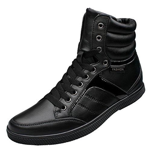 Zon Lorence Heren Winter Echt Leer Veterschoenen Snowboots Hoge Top Bont Gevoerde Casual Warme Sneakers Black1