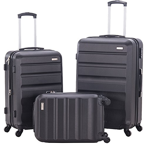3 Pieces Spinner Luggage Sets Expandable Suitcase Sets Hardshell Lightweight ABS Travel Luggage Trolley Cases(3 Piece Set, 28inch + 24inch + 20inch Cabin Size Carry On) (BLACK) by PIANETA