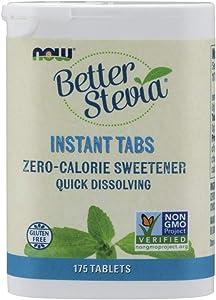 NOW Foods, Better Stevia Instant Tabs, Zero-Calorie Sweetener, Certified Non-GMO, Gluten-Free, 175 Tablets