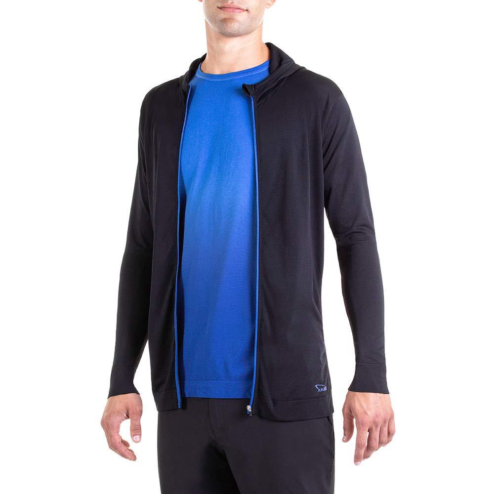 Large Schwarz//Blau XAED Fitness Sportshirt mit Rei/ßverschluss und Kapuze