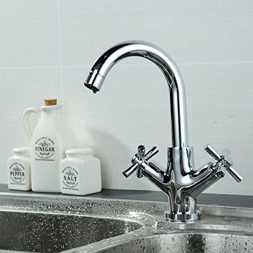 YOBO Modern Double Cross Handles Bar Sink Faucet High Arc Pull-Down Kitchen Faucet, Chrome (Modern Cross)