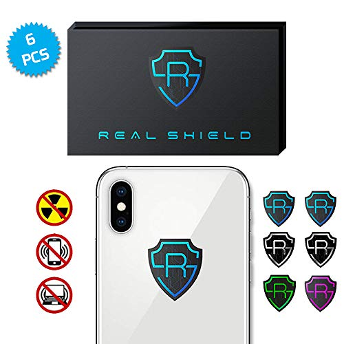 EMF Protection Cell Phone Stickers by RealShield - Anti Radiation Protector Shield for Mobile, Laptop, Tablet, Wifi Device, iPhone, iPad - EMR Blocker Negative Ion Neutralizer reduce Anxiety [6pcs]