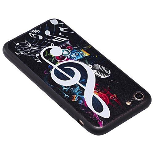 Coque iPhone 6 Plus 3D Note musicale Premium Gel TPU Souple Silicone Protection Housse Arrière Étui Pour Apple iPhone 6 Plus / 6S Plus + Deux cadeau