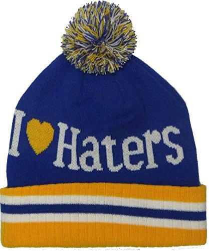 Nuevo Pom estilo I Love Haters rool-up gorro de punto gorro de invierno de lana Azul / Amarillo
