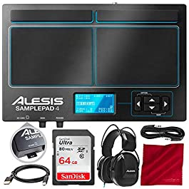 Alesis SamplePad 4 with Bundle Accessory Kit | Compact 4-Pad Electronic Drum Kit | Includes Alesis DRP100 Electronic…