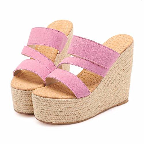 I Cm Tacchi Alti Paglia Sandali Donne Pink HBDLH da Indossare Pantofole Comfort Basso Muffin Drag Parola 13 Spessi Estate donna I Personalità Scarpe E wwa6O7