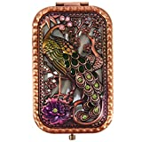 Ivenf Antique Vintage Square Compact Purse Mirror Wedding / Christmas / Birthday Gift, Peacock King Closed Tail, Rose Copper