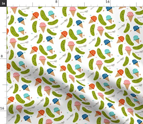 Novelty Food Fabric - Ice Cream Pickles And Pregnancy Fabrics Pregnant Baby Shower Mom Print on Fabric by the Yard - Basketweave Cotton Canvas for Upholstery Home Decor Bottomweight Apparel