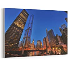 Westlake Art - Canvas Print Wall Art - Metropolitan Skyscraper on Canvas Stretched Gallery Wrap - Modern Picture Photography Artwork - Ready to Hang - 18x12in (*7x-839-a1a)