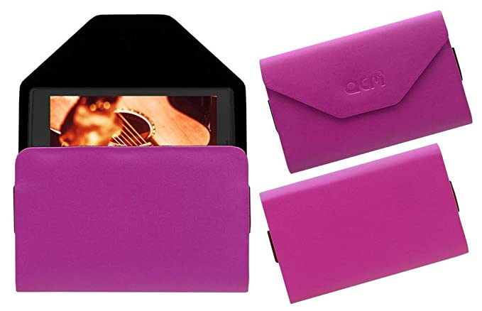 Acm Pouch Case Compatible with Micromax Canvas P681 Tablet Flip Flap Cover Pink