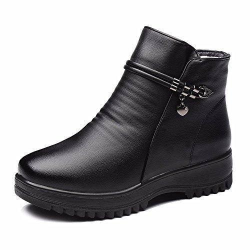 De Mujer Calzado Invierno HXVU56546 Grueso Terciopelo De Con black Tamaño Botas Plus Botas Plana Algodón Zapatos Gran AROTw