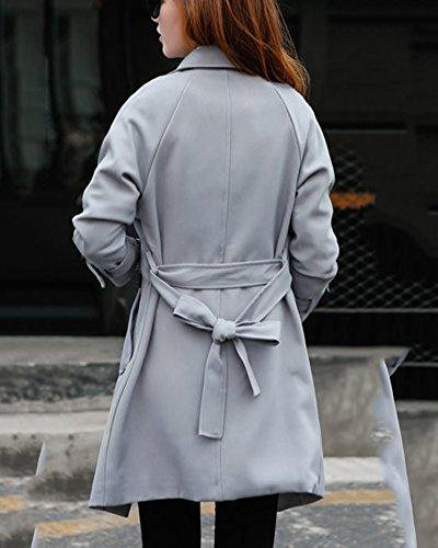 Mujer Elegant Bowknot Encaje Manga Larga Gabardina Larga Con Cinturón Gris