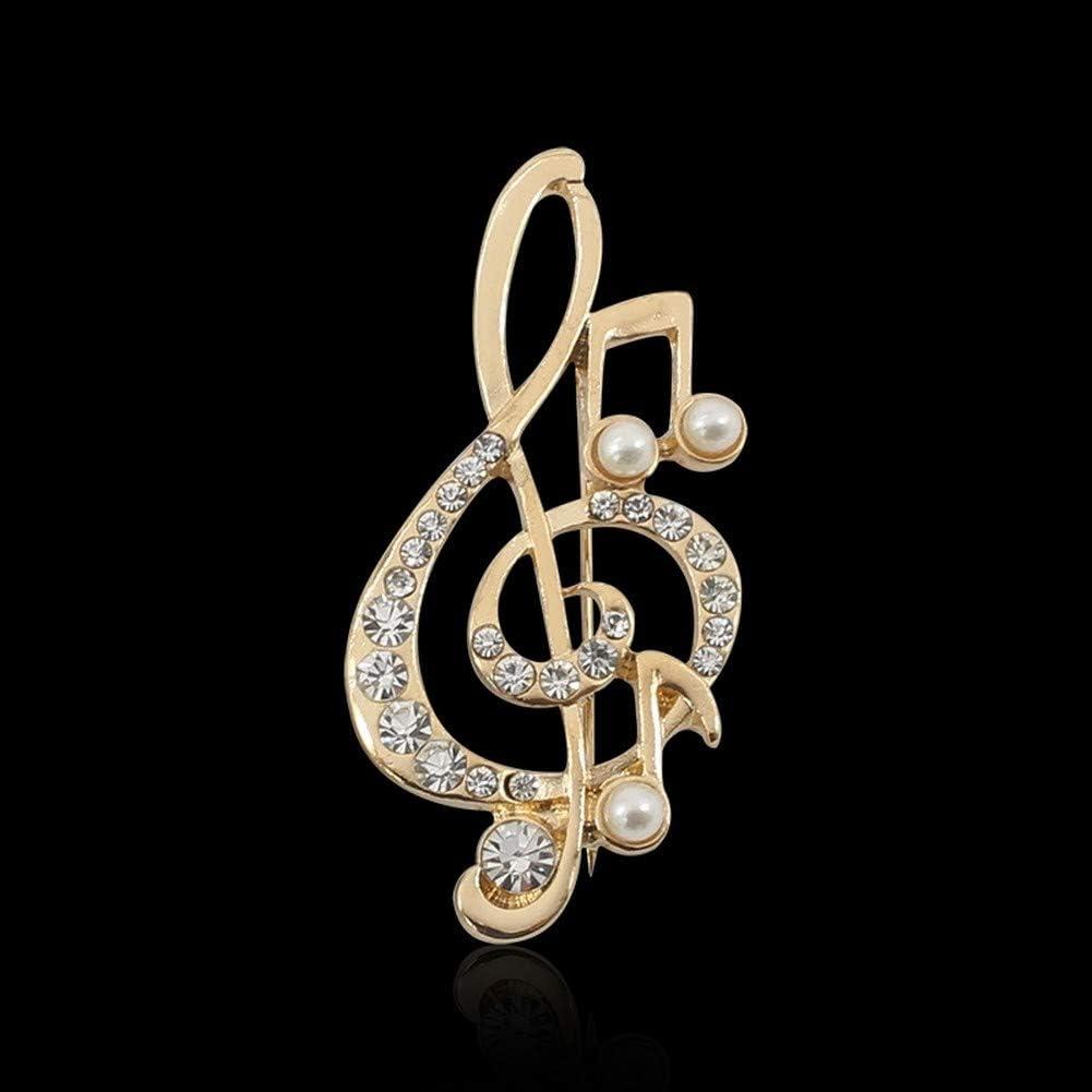 Broche dor/é cl/é de Sol et Perles nacr/ées Notes de Musique.