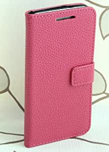 Otterca Rose Litchi Wallet Stand Leather with Credit Card Holder Flip Skin Case Cover for HTC One M4