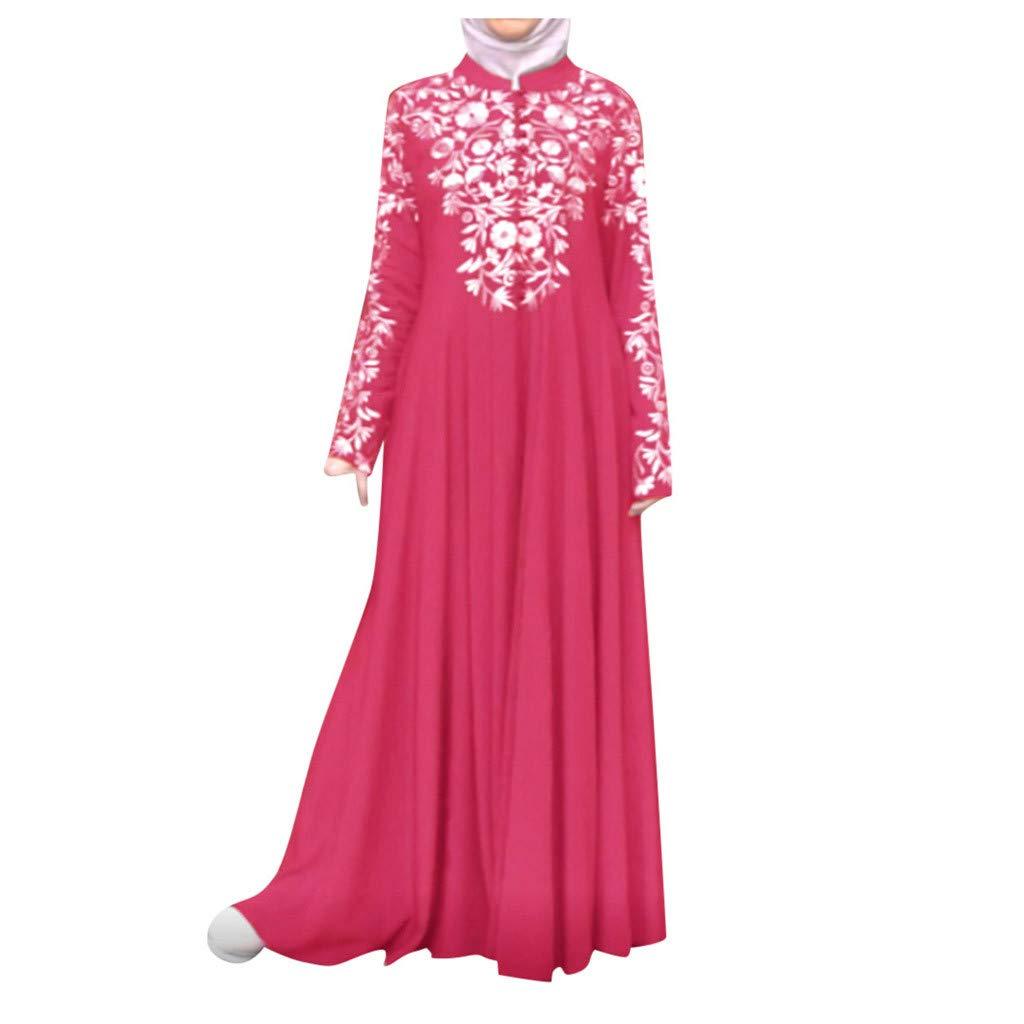FEDULK Womens Muslim Costume Dress Kaftan Arab Islamic Lace Stitching Ethnic Maxi Long Dress(Hot Pink, Medium) by FEDULK