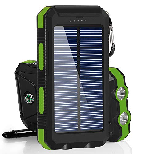 BESWILL Solar Charger, 10000MAH Solar Phone Charger Waterproof Portable External Battery Pack Dual USB Solar Power Bank with 2 Flashlights Carabiner and Compass Compatible with Smart Devices