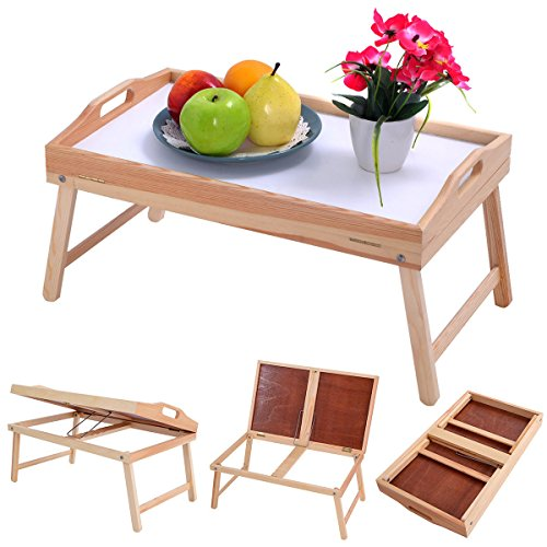 Natural Finish Sturdy Wood Bed Tray Breakfast Desk Or Bed Food Serving Tray With Folding Legs Serve Your Favorite Breakfast Anywhere In Your House (Furniture Singapore Bamboo Rattan)