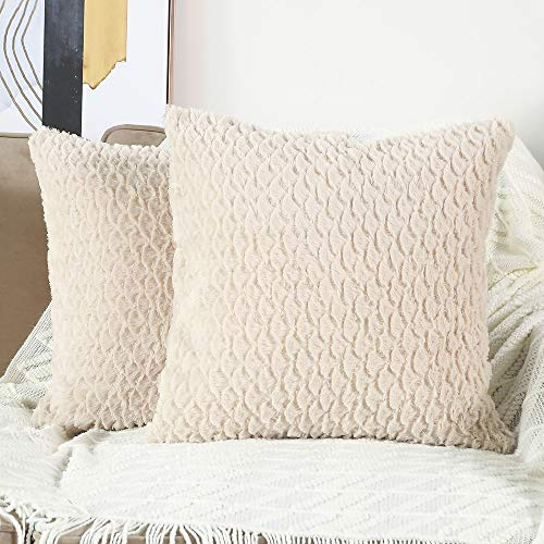 Beige Pillow - Madizz Set of 2 Soft Plush Short Wool Decorative Throw Pillow Covers Luxury Style Cushion Case Pillow Shell for Sofa Bedroom Square Beige 16x16 inch