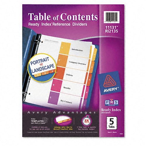Avery Products - Avery - Ready Index Contemporary Table of Contents Divider, 1-5, Multi, Letter - Sold As 1 Set - Print or photocopy titles framed with bright colors matched to preprinted tabs. - Stronger heavier weight paper. - Stronger tab reinforcements. - Double-sided hole reinforcements. -