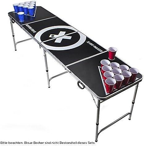 Beer Pong Tisch Set Audio Table Design Beer Pong Table inkl. 50 Red Cups, Ballhalter, 6 Bälle und 2 Gratis Bier Pong Racks