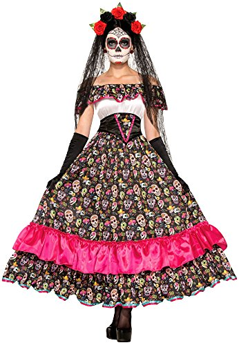 Dead The Of Skull Day Costumes (Forum Novelties Women's Day Of Dead Spanish Lady Costume, Multi,)
