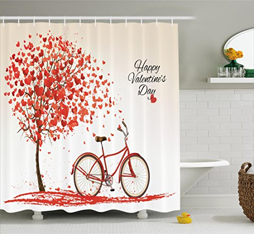 Valentines Day Shower Curtain Set by Ambesonne, Romantic Tree Blooming Red Hearts with Bike and Petals Vintage Art, Fabric Bathroom Decor with Hooks, 70 Inches, Pink Red (Decorations Valentine Home)