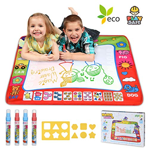 (Magic Water Drawing Mat Large Doodle Mat 31.4 x 23.6in Painting Board Writing Mats 4 Pens 8 Molds Kids Educational Learning Toy Gift for Boys Girls Toddlers Age 2 3 4 5 Year Old Toddler Toys Gift Box)