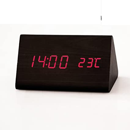 Reloj despertador luminoso moderno silencio creativo/ reloj digital/ moda reloj de madera-C